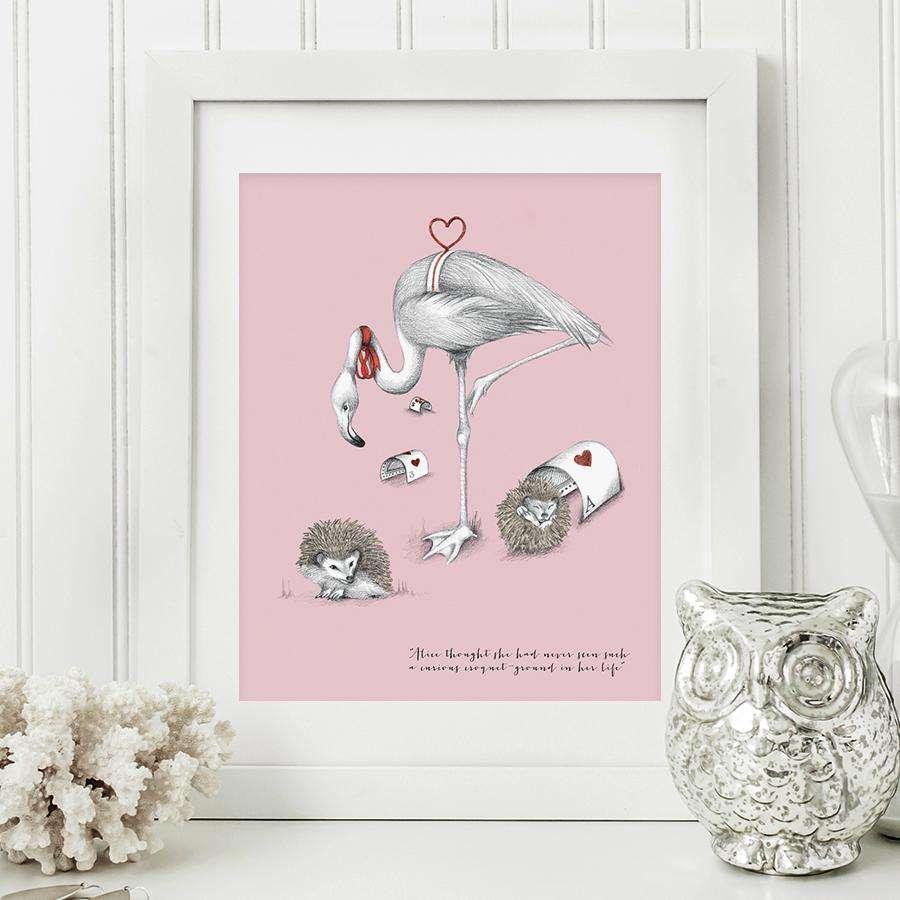 flamingo croquet art print