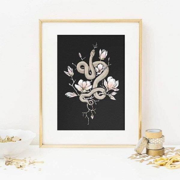 floral serpent art print