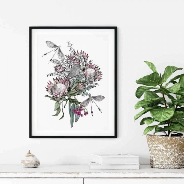 protea floral wall art