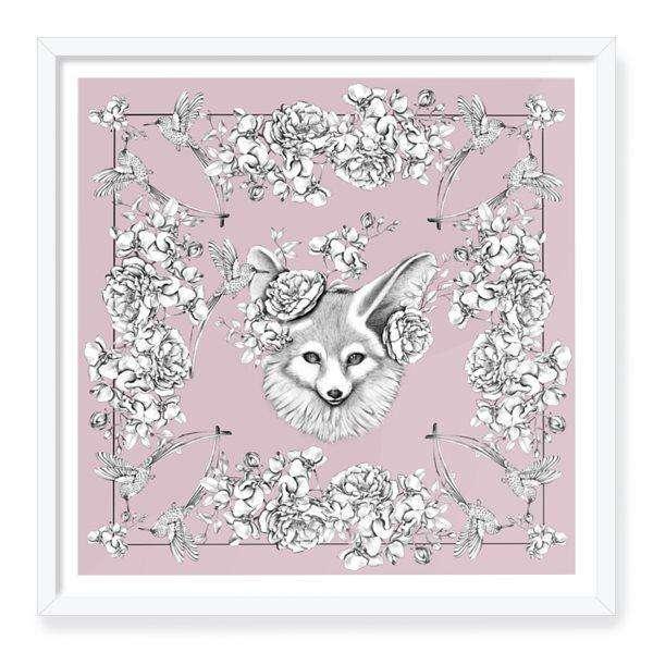 Floral fox ar print
