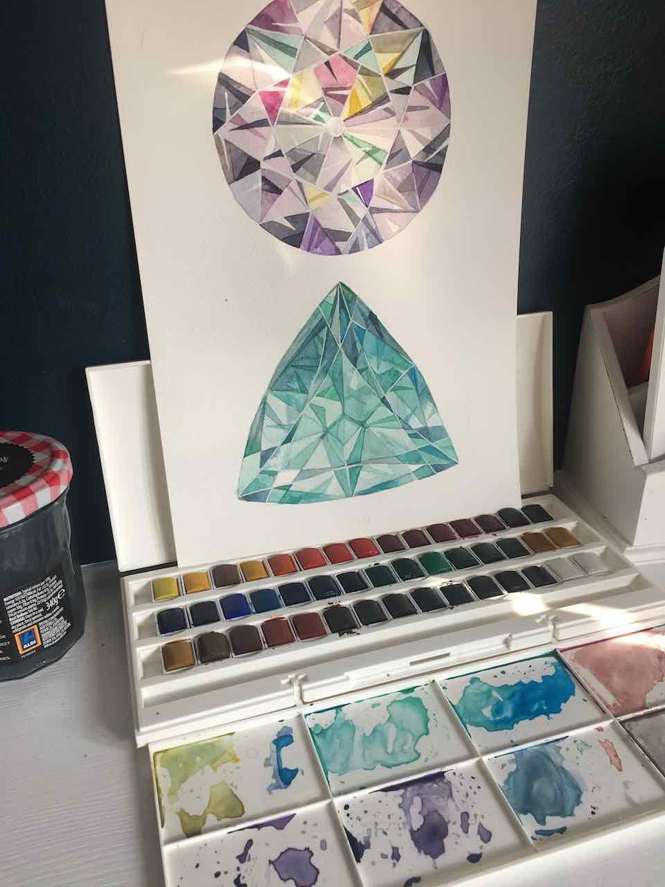 watercolour crystal artwork