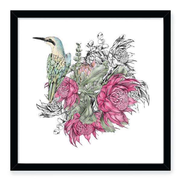 waratah kingfisher art print