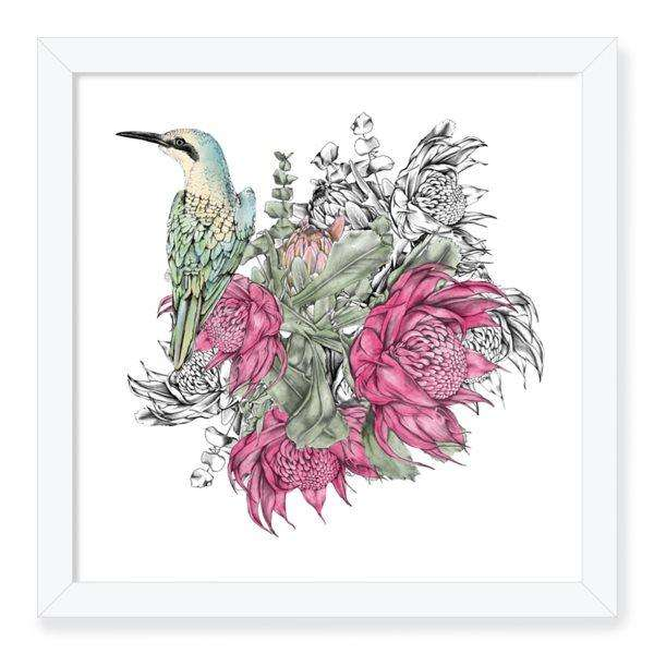 floral kingfisher art print