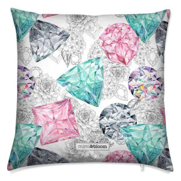watercolour jewel cushion
