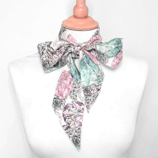 floral silk pussy bow