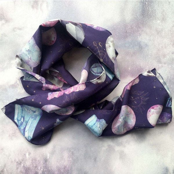 purple silk long scarf