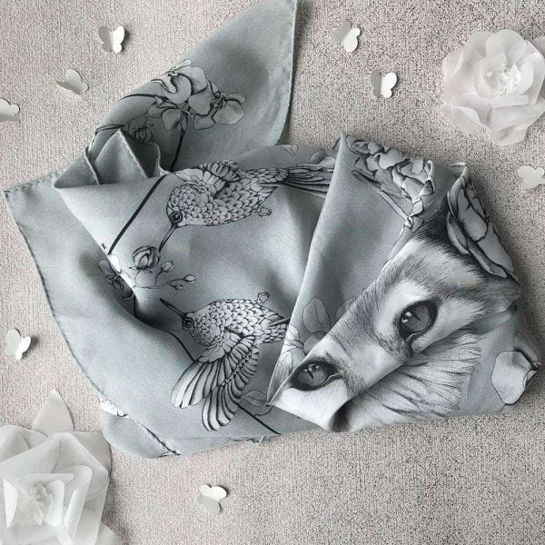 botanical fox silk scarf