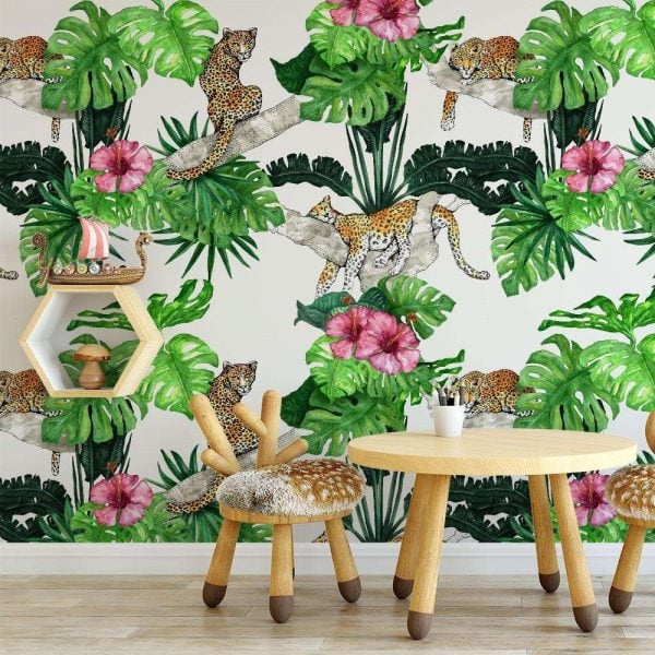 kids room jungle wallpaper