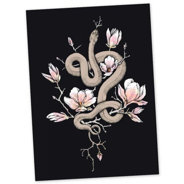 floral snake greeting card