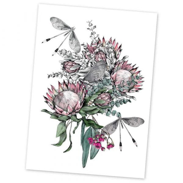 protea flower art print card