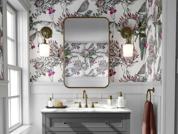 botanical wallpaper bathroom